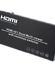 cheap -HDMI Switcher 4 In 1 Output Multiviewer Seamless Switcher 1080P 7 Modes with Remote