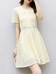 cheap -Women's Daily Slim Sheath Dress - Solid Colored Summer Yellow M L XL