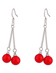 cheap -Women's Pearl Drop Earrings Long Ladies Fashion Oversized Pearl S925 Sterling Silver Earrings Jewelry Red For Date Street