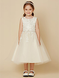 cheap -A-Line Knee Length Wedding / First Communion Lace / Tulle Sleeveless Jewel Neck with Beading / Appliques