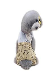 Недорогие -Собаки Комбинезоны Платья Футболки Одежда для собак Красный Хаки Костюм Ткань для подбивки Мультипликация Лозунг Стиль Милый стиль Симпатичные Стиль S M L XL XXL