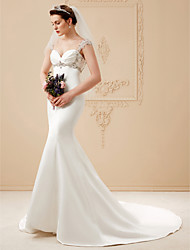 cheap -Mermaid / Trumpet Wedding Dresses Sweetheart Neckline Sweep / Brush Train Satin Charmeuse Cap Sleeve Open Back with Criss Cross Appliques 2021
