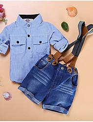 cheap -Toddler Boys' Daily Holiday Striped Plaid Short Sleeve Regular Cotton Clothing Set Light Blue