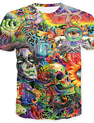 cheap -Men's Daily Weekend Skull / Basic Plus Size T-shirt - Rainbow / Skull Print Round Neck Green / Short Sleeve / Summer