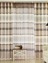 cheap -Sheer Curtains Shades Living Room Lattice / Contemporary Cotton / Polyester Printed