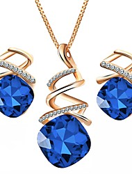 cheap -Women's Sapphire Crystal Jewelry Set Geometrical Solitaire Radiant Cut Ladies Simple Austria Crystal Earrings Jewelry Purple / Red / Blue For Wedding Party Daily Masquerade Engagement Party Prom