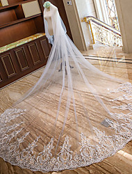 cheap -Two-tier Lace Applique Edge / Bridal Wedding Veil Chapel Veils / Cathedral Veils with Petal / Scattered Bead Floral Motif Style / Splicing Lace / Tulle / Drop Veil