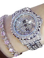 cheap -Women's Dress Watch Stainless Steel Silver / Gold 50 m Chronograph Analog Ladies Luxury Sparkle Fashion - Gold Silver Two Years Battery Life