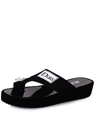 cheap -Women's Slippers & Flip-Flops Wedge Heel Flip-Flops Flat Heel Open Toe PU Comfort / Slouch Boots Walking Shoes Summer White / Black