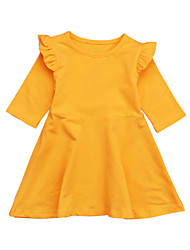 cheap -Toddler Girls' Vintage / Basic Daily / Holiday Solid Colored Ruffle / Lace up Sleeveless / Long Sleeve Cotton Dress Yellow 2-3 Years(100cm)