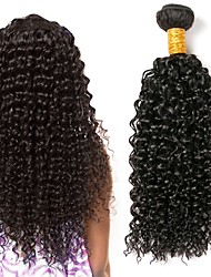 cheap -4 Bundles Peruvian Hair Kinky Curly Human Hair Wig Accessories Natural Color Hair Weaves / Hair Bulk Bundle Hair 8-28 inch Natural Color Human Hair Weaves Soft Silky Women Human Hair Extensions