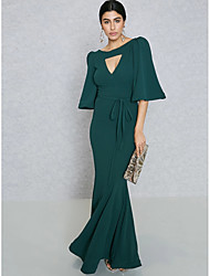cheap -Women's Plus Size Party / Going out Street chic / Sophisticated Maxi Slim Bodycon / Sheath / Trumpet / Mermaid Dress - Solid Colored High Waist V Neck Spring Green XL XXL XXXL / Sexy