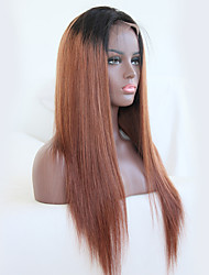 cheap -Remy Human Hair Lace Front Wig Rihanna style Brazilian Hair Straight Brown Wig 130% Density with Baby Hair Ombre Hair Natural Hairline Bleached Knots Women's Short Medium Length Long Human Hair Lace