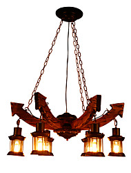 cheap -6-Light 80 cm Mini Style Chandelier Wood / Bamboo Industrial Painted Finishes LED / Vintage 110-120V / 220-240V