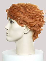 cheap -Synthetic Wig Curly Short Bob Side Part Wig Short Brown Synthetic Hair Men's Natural Hairline Light Brown