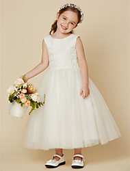 cheap -Princess Knee Length Wedding / First Communion Flower Girl Dresses - Lace / Satin / Tulle Sleeveless Jewel Neck with Lace
