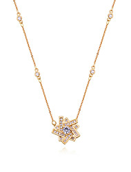 cheap -Women's Cubic Zirconia Pendant Necklace Star Ladies European Fashion Zircon Copper Gold Silver Rose Gold 40 cm Necklace Jewelry For Causal