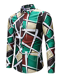 cheap -Men's Daily Going out Basic Shirt - Geometric Print Green