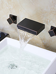 cheap -Bathroom Sink Faucet - Waterfall Oil-rubbed Bronze Wall Mounted Two Handles Three HolesBath Taps / Brass