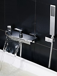 cheap -Bathtub Faucet - Contemporary Chrome Tub And Shower Ceramic Valve Bath Shower Mixer Taps / Two Handles Two Holes