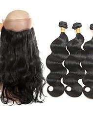cheap -Brazilian Hair Wavy Human Hair Hair Weft with Closure Black Human Hair Weaves Best Quality New Arrival Human Hair Extensions