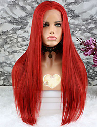 cheap -Virgin Human Hair Lace Front Wig style Brazilian Hair Straight Red Wig 130% Density with Baby Hair Coloring Women's Short Medium Length Long Human Hair Lace Wig Luckysnow
