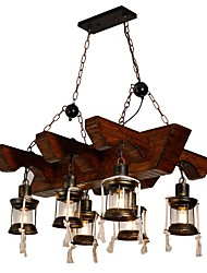 cheap -JLYLITE 6-Light 80 cm Mini Style Chandelier Metal Glass Industrial Painted Finishes Artistic / Retro Vintage 110-120V / 220-240V