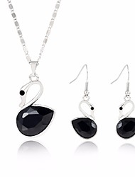 cheap -Women's Crystal Jewelry Set Swan Sweet Fashion Crystal Earrings Jewelry Black / White / Pink For Wedding Evening Party