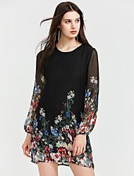 cheap -Women's Floral Mini Black Dress Summer Club Shift Geometric Lantern Sleeve Lace S M / Silk