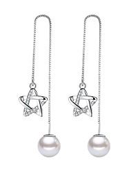 cheap -Women's Pearl Drop Earrings Long Star Pentagram Ladies Sweet Fashion Imitation Pearl Zircon Earrings Jewelry Silver For Daily Date