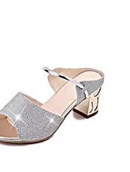 cheap -Women's Sandals Spring / Summer Chunky Heel Peep Toe Comfort Dress Rhinestone PU Gold / Silver