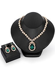 cheap -Women's Cubic Zirconia Jewelry Set Drop Earrings Pendant Necklace Pear Cut Drop Statement Ladies Fashion Elegant Indian Zircon Gold Plated Earrings Jewelry Red / Green For Wedding Evening Party
