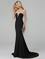 cheap -Mermaid / Trumpet See Through Beaded & Sequin Holiday Cocktail Party Formal Evening Dress Off Shoulder Long Sleeve Floor Length Chiffon with Beading 2020
