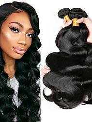 cheap -4 Bundles Malaysian Hair Wavy Human Hair Natural Color Hair Weaves / Hair Bulk Human Hair Extensions Natural Color Human Hair Weaves Extention Hot Sale Human Hair Extensions / 8A