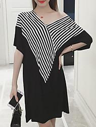 cheap -Women's Striped Plus Size Black Dress Spring Daily Shift Striped Color Block V Neck M L Loose