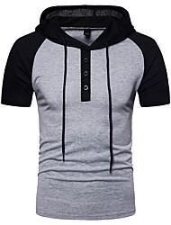 abordables -Tee-shirt Homme, Bloc de Couleur - Coton Mosaïque Basique Capuche Gris Foncé / Manches Courtes / Eté