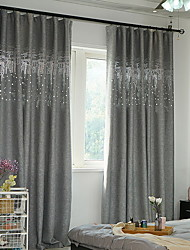 cheap -Blackout Curtains Drapes Bedroom Solid Colored Cotton / Polyester Printed
