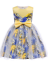 cheap -Kids Toddler Girls' Vintage Sweet Party Holiday Sun Flower Floral Bow Print Sleeveless Knee-length Dress Blue / Cotton