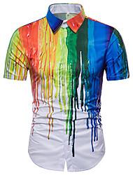 cheap -Men's Plus Size Rainbow Shirt Basic Daily Holiday Rainbow / Summer / Short Sleeve