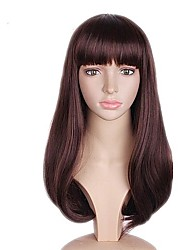cheap -Synthetic Wig Straight Bob Layered Haircut Wig Long Black / Brown Synthetic Hair Women's Natural Hairline Brown