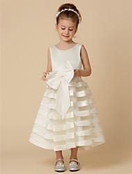 cheap -A-Line Tea Length Wedding / First Communion Flower Girl Dresses - Satin / Tulle Sleeveless Jewel Neck with Bow(s)