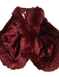 cheap -Women's Daily Fall / Winter Regular Fur Coat, Solid Colored Square Neck Half Sleeve Faux Fur Red / Gray / Wine