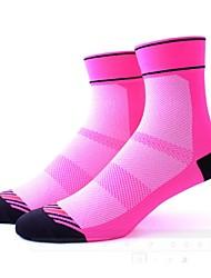 cheap -Compression Socks Ankle Socks Athletic Sports Socks Cycling Socks Women's Cycling / Bike Bike / Cycling Quick Dry Anatomic Design Breathability 1 Pair Stripes Patchwork Nylon Spandex Elastic Black