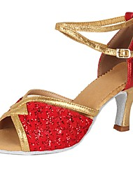cheap -Women's Dance Shoes Sparkling Glitter / Paillette / Leatherette Latin Shoes Sequin / Buckle Heel Cuban Heel Customizable Red