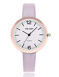 cheap -Women's Wrist Watch Quartz Quilted PU Leather Black / White / Blue Casual Watch Analog Ladies Minimalist - Red Pink Light Blue