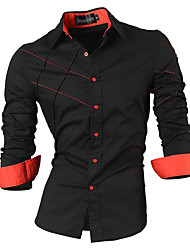 cheap -Men's Daily Street chic Cotton Slim Shirt - Solid Colored Red / Long Sleeve / Summer