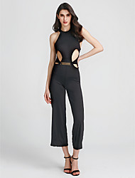cheap -Women's Backless Party Halter Neck Black Wide Leg Jumpsuit Onesie, Solid Colored Cut Out S M L Sleeveless Spring Fall