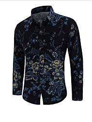 cheap -Men's Party Daily Club Luxury / Vintage / Chinoiserie Plus Size Shirt - Floral Black / Long Sleeve