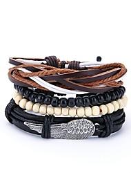cheap -4pcs Men's Wrap Bracelet Leather Bracelet Vintage Paracord Bracelet Jewelry Black For Daily Prom