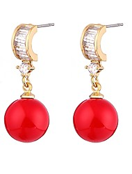 cheap -Women's Cubic Zirconia Pearl Drop Earrings Ladies Ethnic Pearl Zircon Earrings Jewelry Red For Ceremony Formal